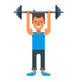 man lifting heavy bar-bell flat isolated on white vector image