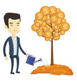 man watering money tree vector image vector image
