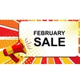 Megaphone with FEBRUARY SALE announcement Flat vector image vector image