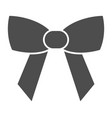 minimalistic bow solid icon festive decoration vector image