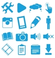 New blue icons set vector image vector image