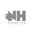 nh n h zebra letter logo design with black and vector image