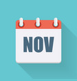 November Dates Flat Icon with Long Shadow vector image vector image