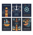ollection of marine cards vector image vector image