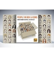 People in box and icons faces set vector image vector image