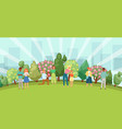 people relaxing in nature in a beautiful urban vector image vector image