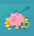 piggy bank and stacks of money vector image vector image