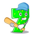playing baseball character paper cut number seven vector image