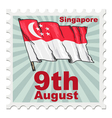 post stamp of national day of Singapore vector image vector image