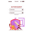quest mobile authentication page vector image vector image