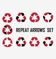 repeat arrows set icons collection vector image vector image