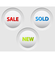 Round 3D white buttons for sale vector image vector image