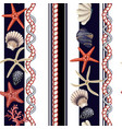 seamless pattern with starfishes shells and rope vector image