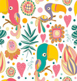 seamless with parrots and jungles flowers vector image