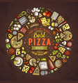 set of dpizza cartoon doodle objects symbols and vector image vector image