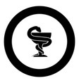 snake and cup icon black color in circle vector image vector image
