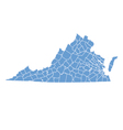 State Map of Virginia by counties vector image vector image