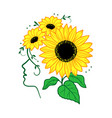 sunflower woman face silhouette and vector image