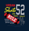 urban skate t shirt design vector image