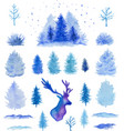 watercolor christmas design elements vector image