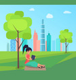 woman sitting under tree and reading book in park vector image