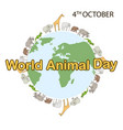 world animal day concept vector image vector image