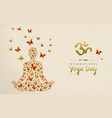 yoga day card lotus pose meditation exercise vector image vector image