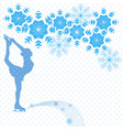 figure skater and snowflakes vector image