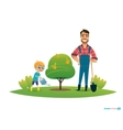 Cartoon characters smiling father and son in vector image