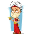 Cartoon oriental old man with turban vector image