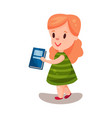 adorable beautiful girl with a book education and vector image vector image