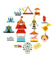 amusement park flat icons set vector image vector image