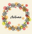 autumn hand drawn wreath with fall leaves vector image vector image