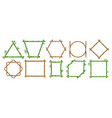 bamboo frame realistic wooden borders with copy vector image
