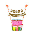 birthday cake in cartoon style vector image vector image