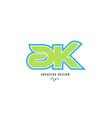 blue green alphabet letter ak a k logo icon design vector image