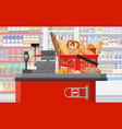 bread products in shopping basket checkout vector image vector image