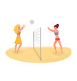 buddies playing beach volleyball vector image