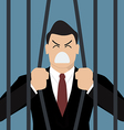 Businessman try to escape from prison vector image