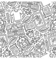 Cartoon hand-drawn back to school seamless pattern