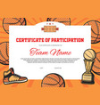 certificate participation baseball sport vector image vector image