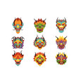 chinese dragon heads set new year symbol vector image