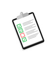 clipboard with cheklist and check mark in flat vector image vector image