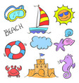 collection stock element summer doodles vector image vector image