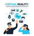 colored virtual reality poster vector image vector image