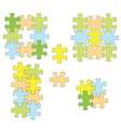 Colorful puzzles as infographic - set of elements vector image