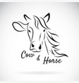 cow head and horse head design on a white vector image vector image
