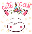 cute cow cowicorn characters vector image