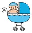 cute little boy in bacart transportation vector image vector image