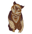 decorated owl on white background vector image vector image